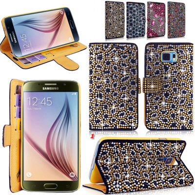 Galaxy s6, s6 edge - out-on-the-town rhinestone gems wallet case in assorted colors