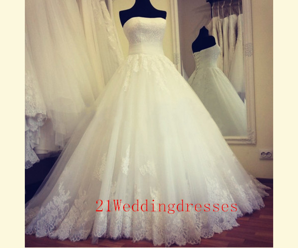 Elegant White Lace Long Wedding Dresses,Strapless Wedding Dress,Ball ...