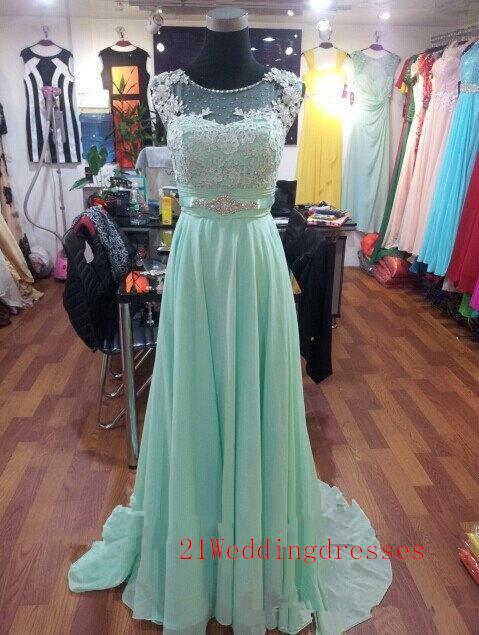 Real Beautiful Sage Green Prom Dresses,Elegant Cap Sleeves Prom ...