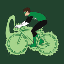 Green Lantern on bike, 5x5 print