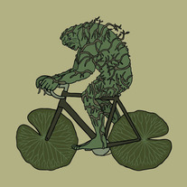 Swamp Thing ridng bike with lily pad wheels, 5x5 print