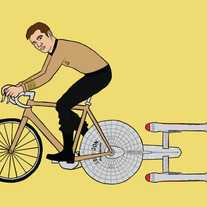 James T. Kirk riding bike powered by the Enterprise