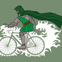 Dr Doom riding bike powered by concussion beams