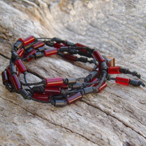 Black Hemp Red Horn Bead Wrap Bracelet Choker