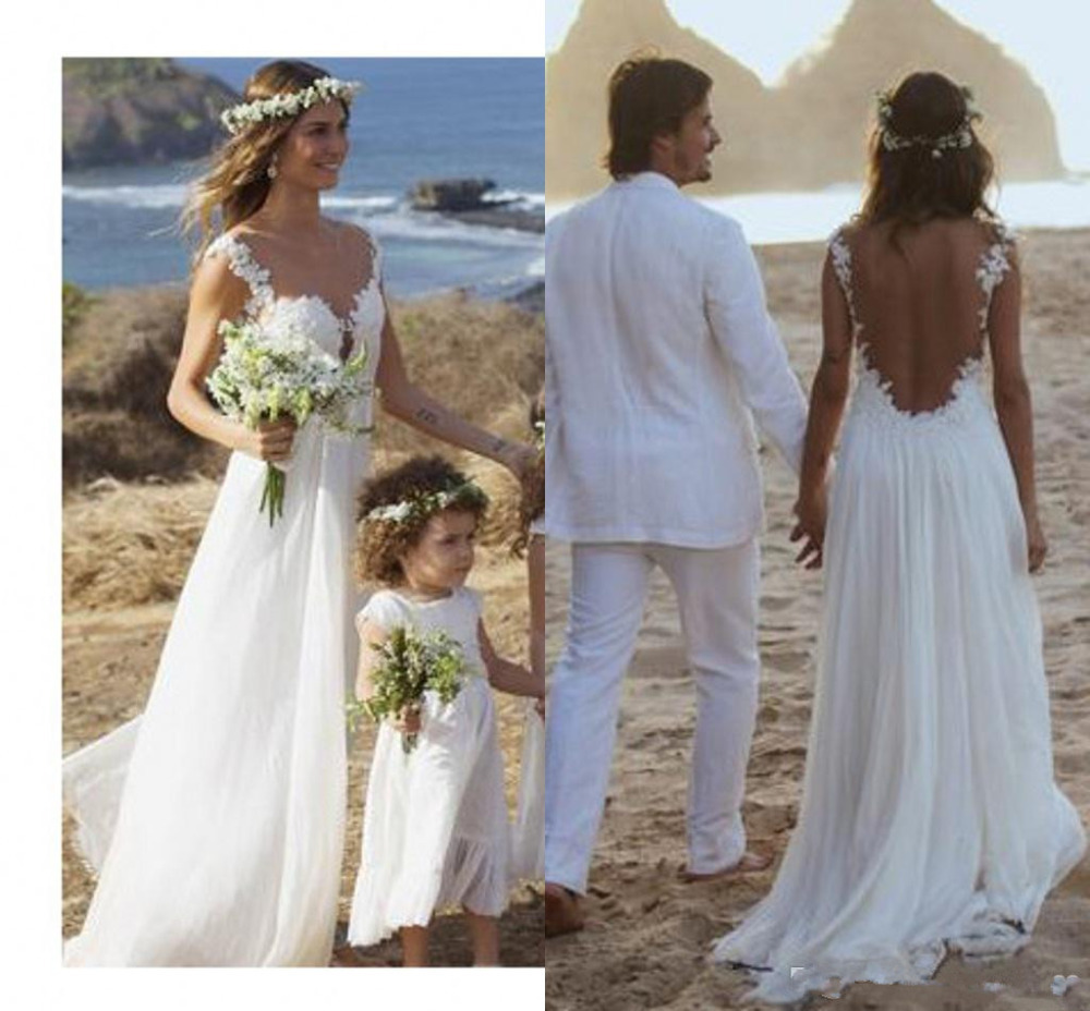 Backless lace wedding dress open back beach wedding Inexpensive beach wedding dresses