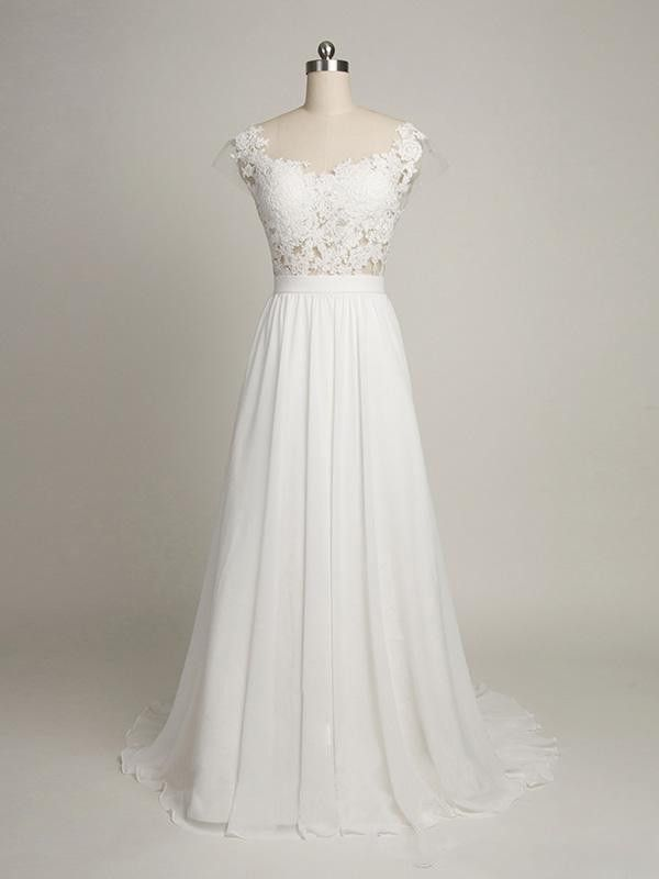 Elegant Beach Wedding Dresses,Cap Sleeves Back V Lace Wedding Dress ...