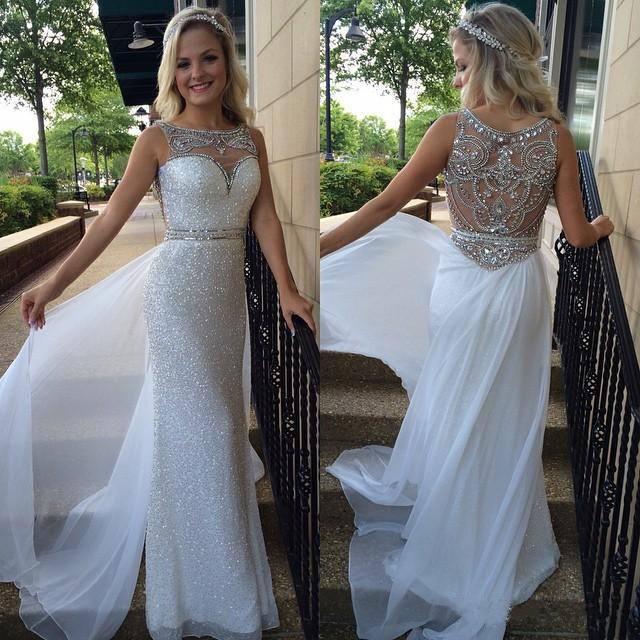 Sheath O Neck White Chiffon Silver Sequins Lace Prom Dress Long