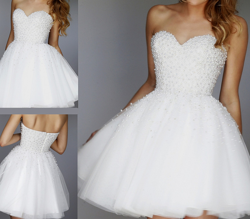 White Pearls Homecoming Dresses Sweetheart Short Prom Dress Party ...