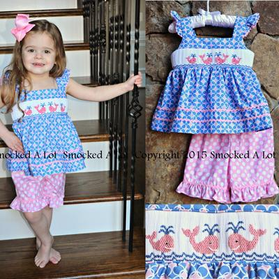 Smocked whale ruffled shorts set- blue/pink