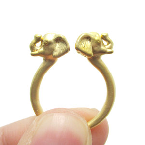 Realistic Double Elephant Totem Open Band Ring in Gold | US Size 6 or 7