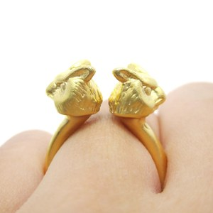 Realistic Double Owl Bird Totem Open Band Ring in Gold | US Size 6 or 7