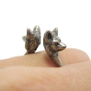 Realistic Double Wolf Totem Open Band Ring in Silver | US Size 6 or 7
