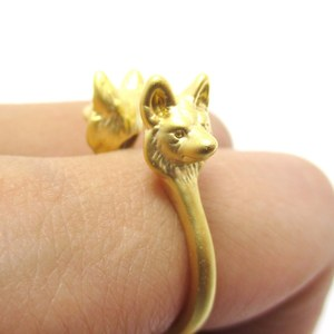 Realistic Double Wolf Totem Open Band Ring in Gold | US Size 6 or 7