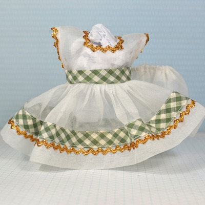 Special edition dress & panty set-white organdy with green check