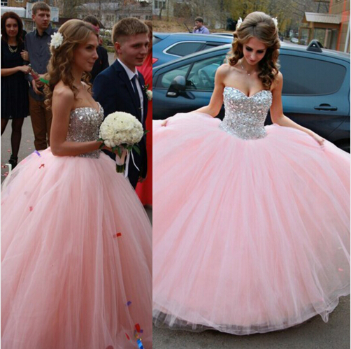 Sweetheart Beaded Quinceanera Dresses,Pink Ball Gown Prom Dresses ...