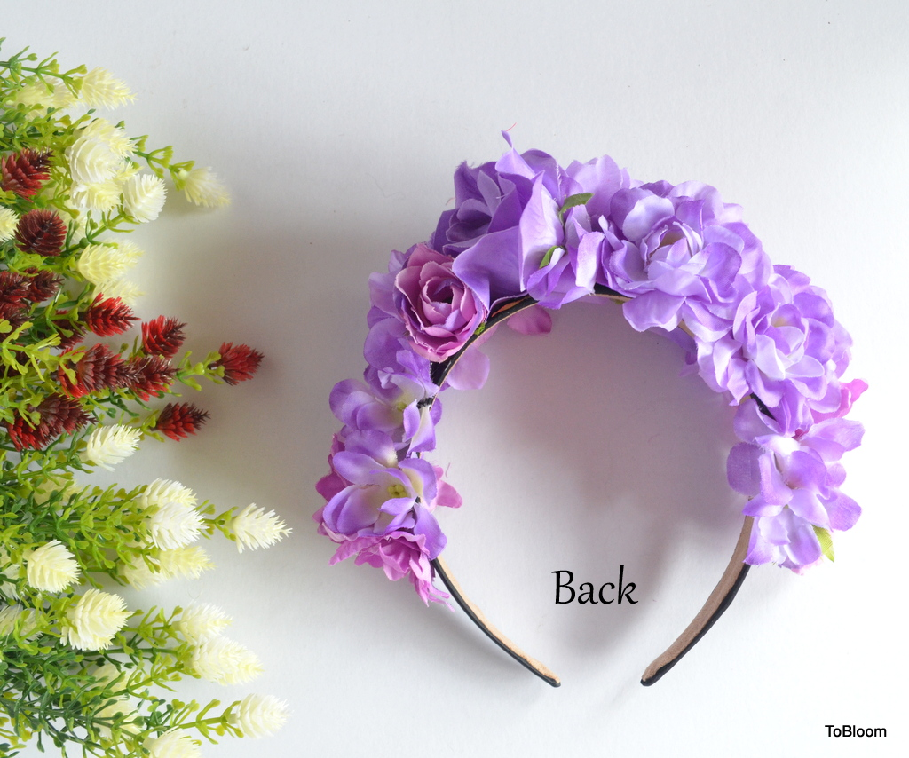 Purple Violet Flowers Headband Garden Party Outfit Pre Wedding