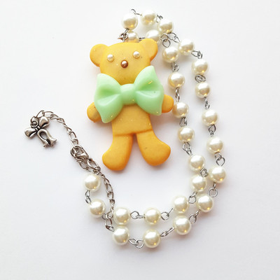 Pearl resin teddy bear cookie green bow short necklace pastel goth harajuku fashion
