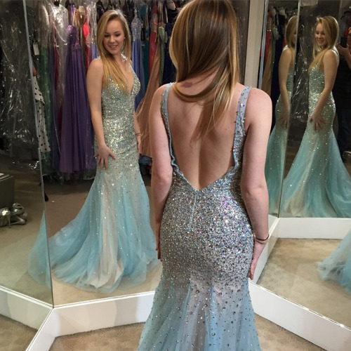 Backless Sparkly Elegant Dress