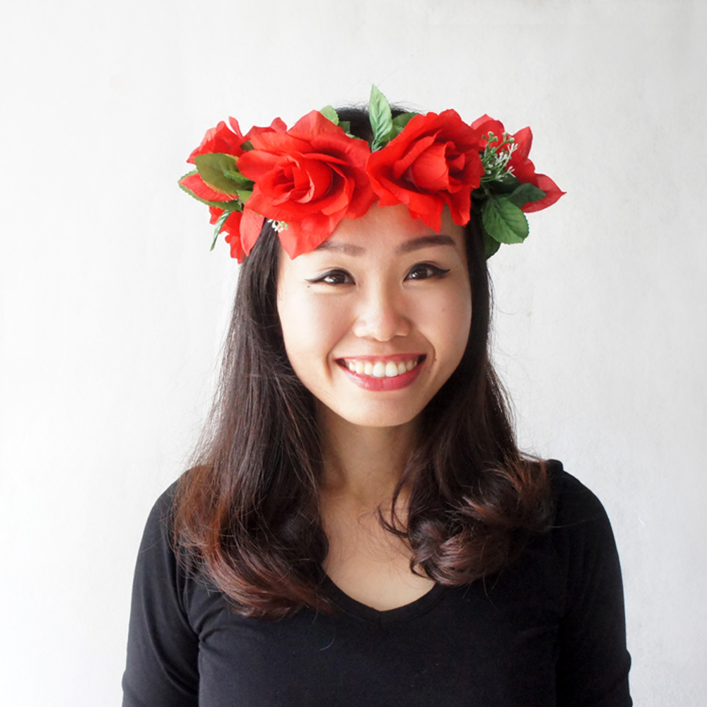 Flower crown red floral halo red wedding bridal hair accessory flower crown red floral halo red wedding bridal hair accessory bridesmaid crown izmirmasajfo
