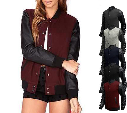S M L XL dark red black blue gray vegan leather letterman baseball ...