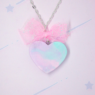 Marble pastel heart with bow♡04