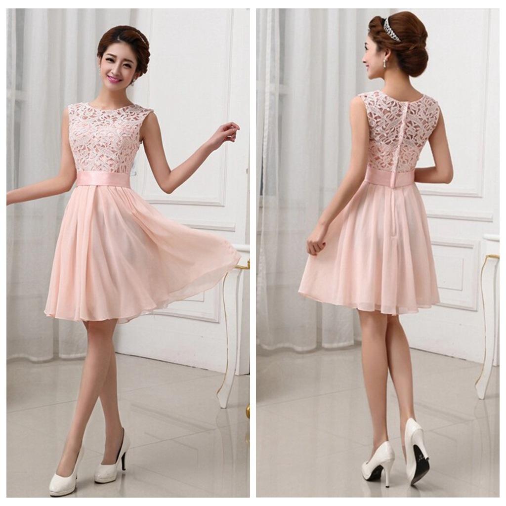 Lace bridesmaid dresses short bridesmaid dresses chiffon for Short wedding dresses cheap