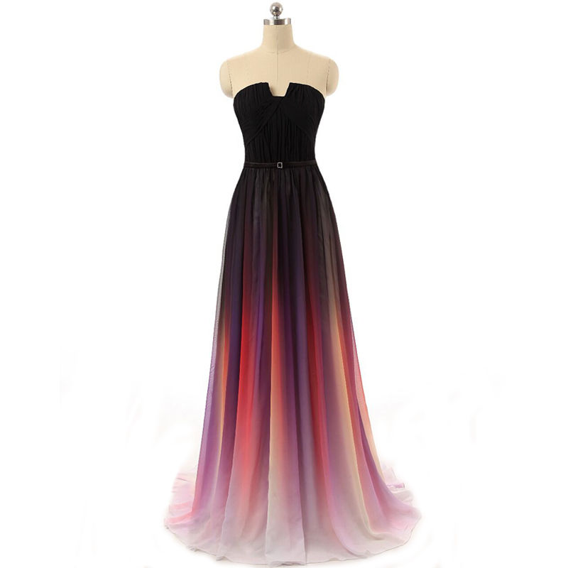 Ombre prom dresses, chiffon prom dresses, long prom ...