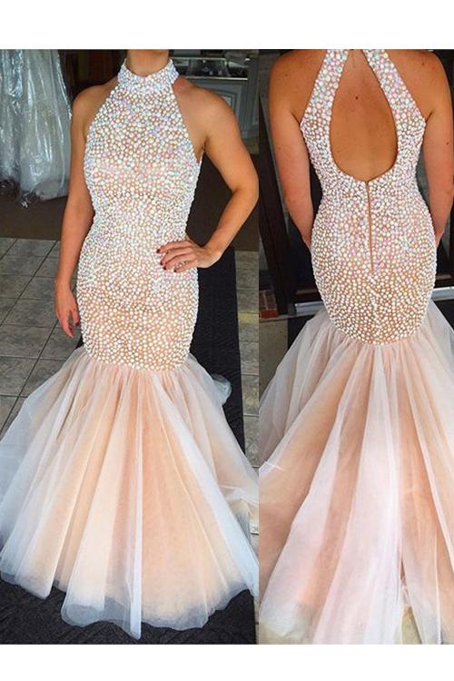 Halter Mermaid prom dress, long prom dress, prom dress online, Open ...
