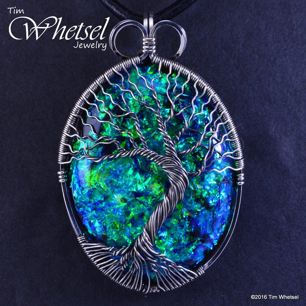 Sterling silver tree of life opalescent orgonite pendant wire wrap sterling silver tree of life opalescent orgonite pendant wire wrap handmade aloadofball Choice Image