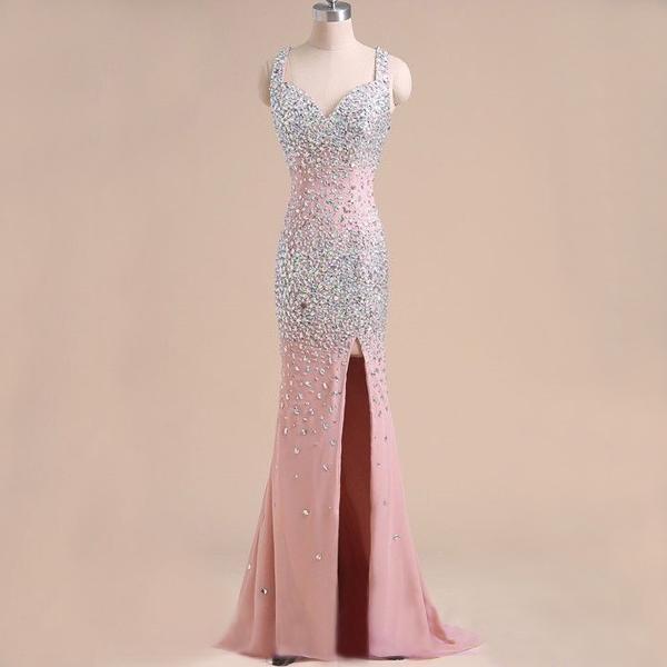 Mermaid Prom Dress Pink Prom Dress Rhinestone Prom Dress Chiffon