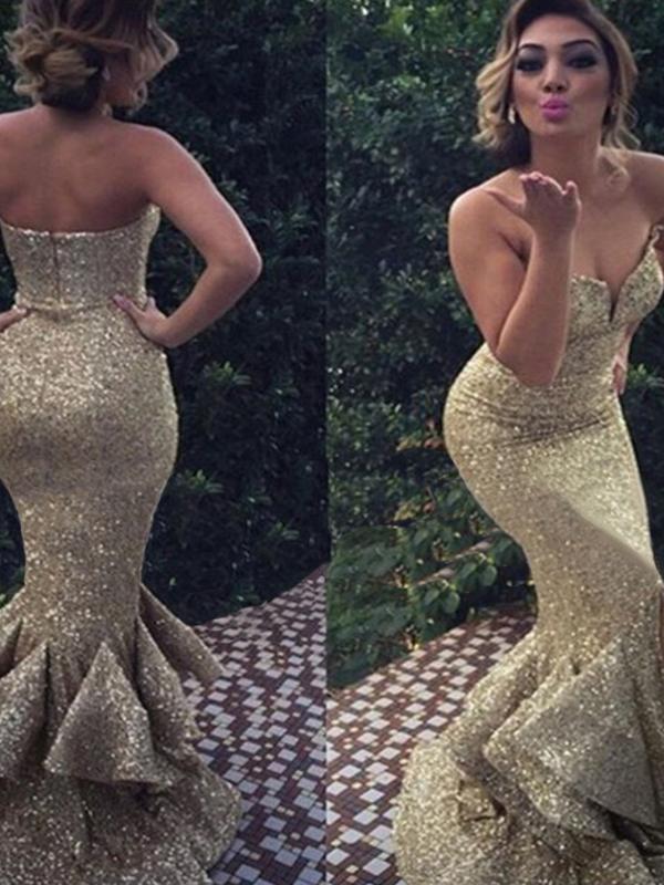 Diy Prom Dresses Gold Trumpet Mermaid Sweetheart Floor