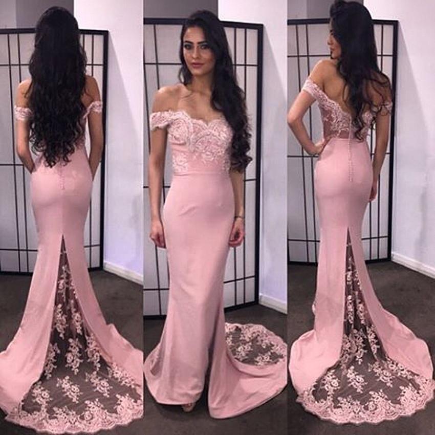 Long Bridesmaid Dresses, pink bridesmaid dress,off shoulder ...