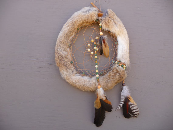 Native American Style Dream Catcher Real Genuine Rabbit Fur Custom Is Dream Catcher Real