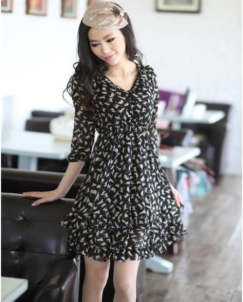 Leopard Vintage Chiffon Long Sleeve mini dress · Daisy Dress For ...