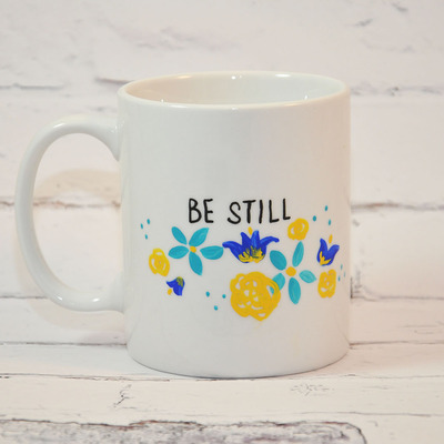 11oz be still floral mug