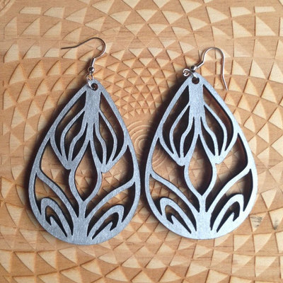 "Laser-cut wood earrings ""lotus portals"""