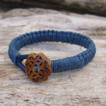Macrame Blue Leather and Hemp Button Toggle Bracelet