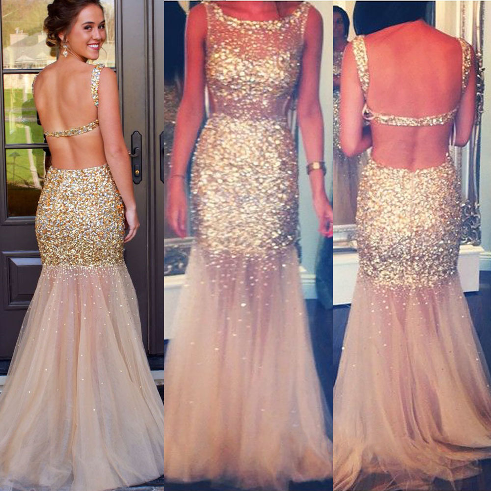 Champagne Backless Tulle Prom Dress, All over Gold Beaded Prom ...
