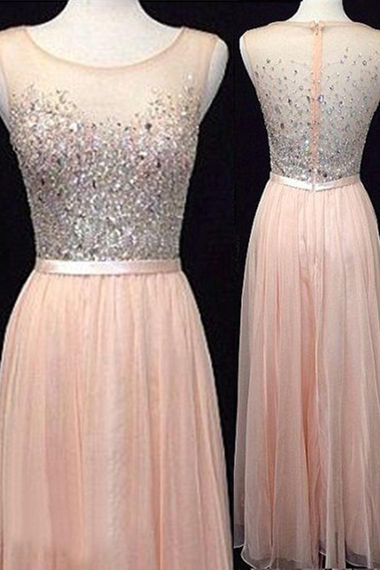 Largos A-Line Chiffon Prom Dresses,O-Neck Prom Dresses,Beading Prom ...