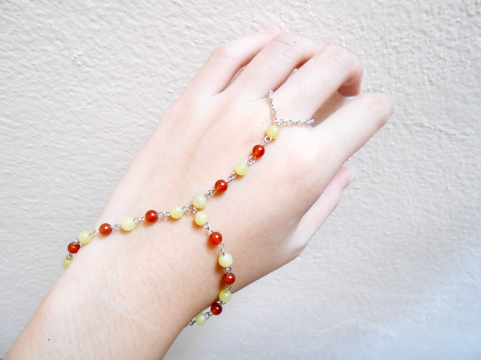 Slave Bracelet Ring with Orange Beads Stone Hand Link Chain ...