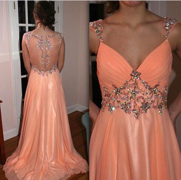 Largos Long Prom Dresses,A-Line Prom Dresses,V-Neck Prom Dresses ...