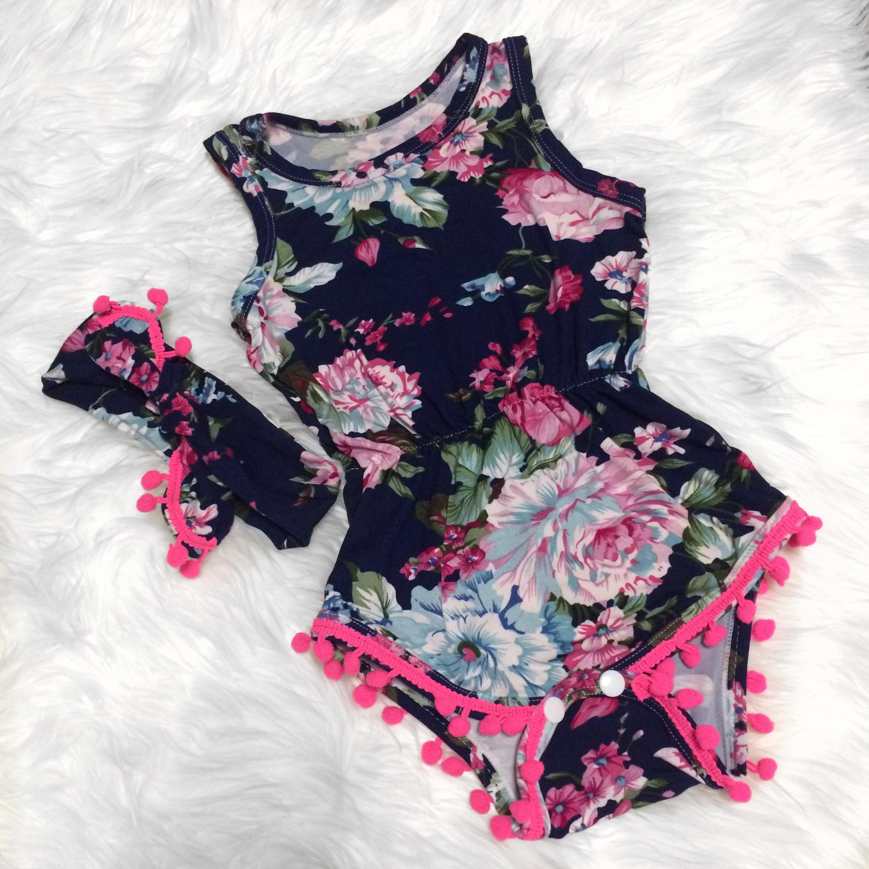 Fancy Floral Pom Pom Romper · Kissable Baby Boutique · line Store