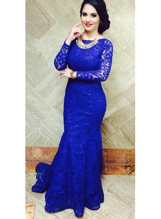 lace prom dress, long prom dress, blue prom dress, lace long ...