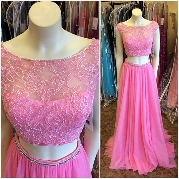 Plum Cap sleeves Prom Dresses,Two Pieces Long Prom Dresses,Boat Neck ...