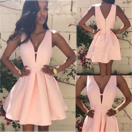 Little Cute Simple A Line Short Prom Dressesa Line V Neck