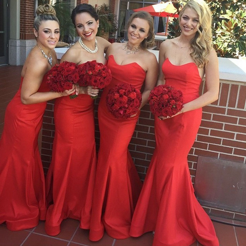 Trumpet Red Bridesmaid Dress Sleeveless Sweetheart Silk