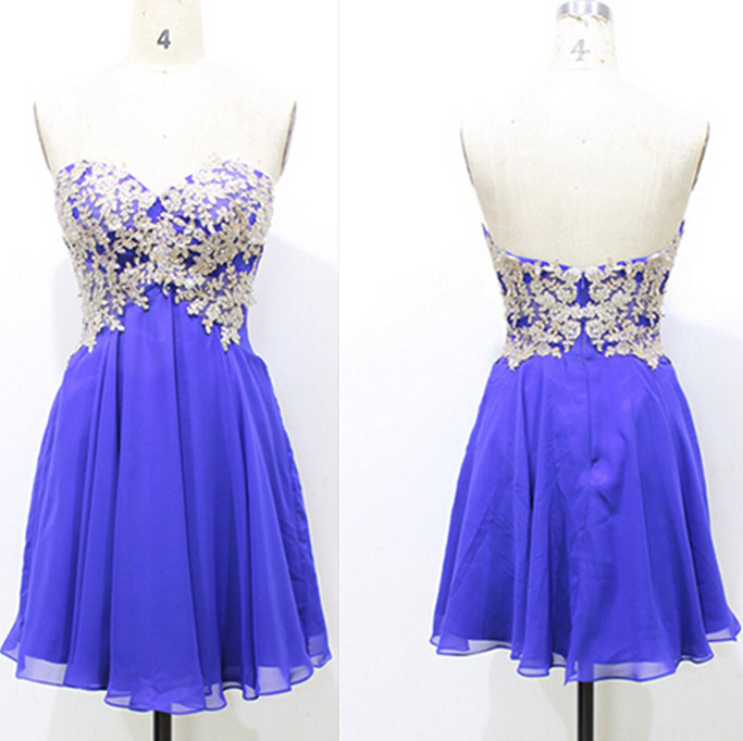 Ivory Lace And Blue Chiffon Short Prom Dresses For Teens,Simple Cute ...