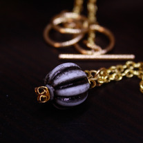 Black and Gold Lucite Necklace and Earring Set