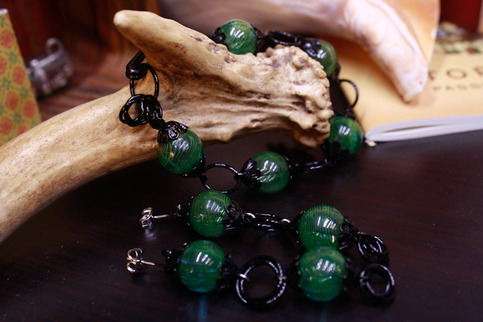 Green Lantern Bracelet and Earring Set