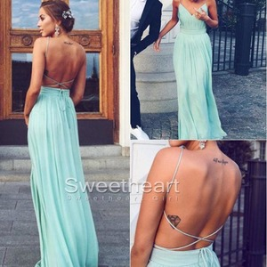 Simple A-line Backless Chiffon Green Long Prom Dress, Evening Dress